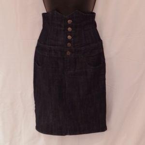 Forever 21 Corset Waist Stretch Denim Skirt- Sz Sm